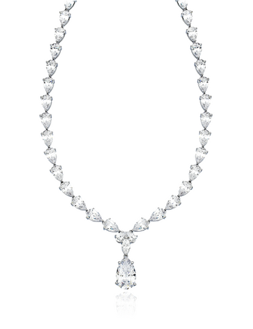 Classic Pear cubic zirconia Tennis Necklace