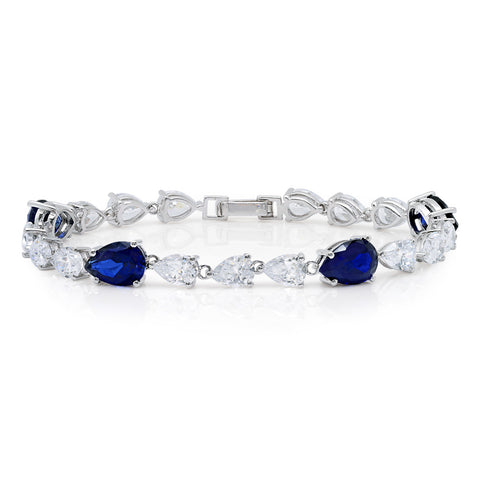 Classic Pear Tennis Bracelet With Sapphire cubic zirconia