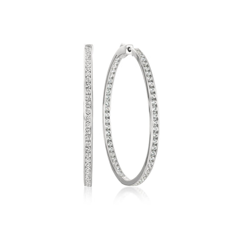 Pure platinum Classic Inside Out cubic zirconia Hoop Earrings
