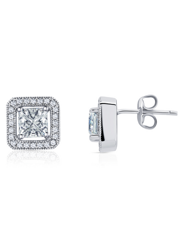 Princess Cut Halo Stud Earrings Finished in Pure Platinum