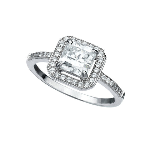 Princess Cut Halo Ring Finished in Pure Platinum