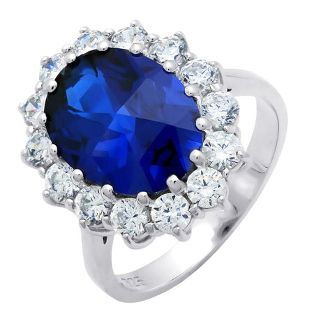 Oval Sapphire Ring Finished in Pure Platinum