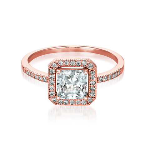 Princess Cut Halo Ring Finished in 18kt Rose Gold