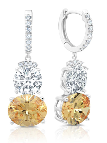 Pure platinum Couture Two Stone Drop Earrings With Champagne Stones