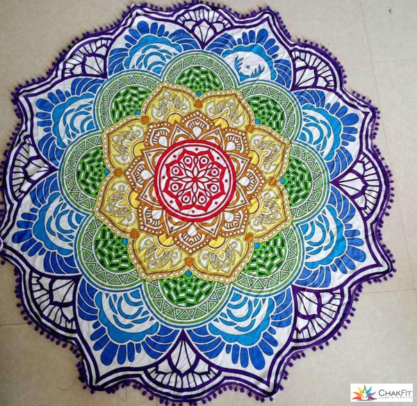 Round Chakra Coloered Beach Tapestry - ChakFit  - 1