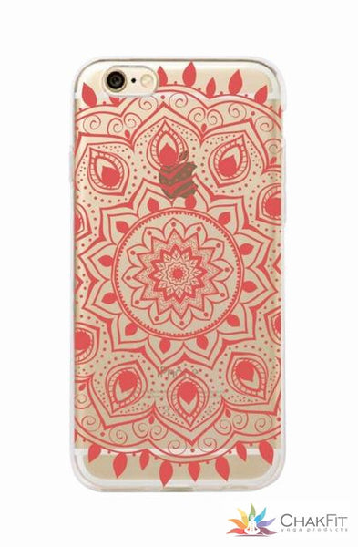 Vintage Indian Floral Henna  Phone Case  For iPhone 7Plus 7 6Plus 6 6S 5 5S 8 8Plus X - ChakFit Yoga Products
