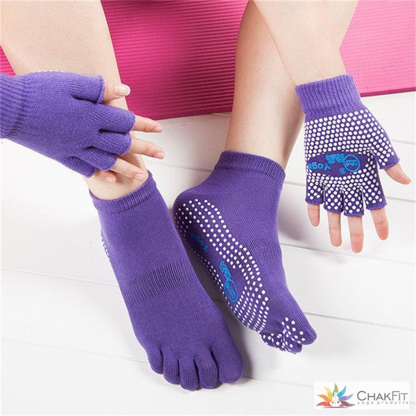 Chakfit Professional Good Grip Cotton Non-slip Socks&Gloves For Women. - ChakFit Yoga Products