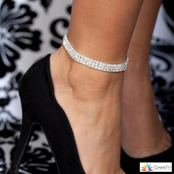 Silver Rhinestone Ankle Bracelet - ChakFit Yoga Products