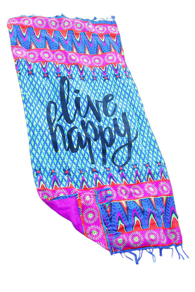 Chakfit Live Happy Beach Towel Blankets - ChakFit Yoga Products