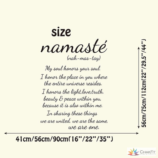 Namaste Quote Wall Stciker - ChakFit Yoga Products