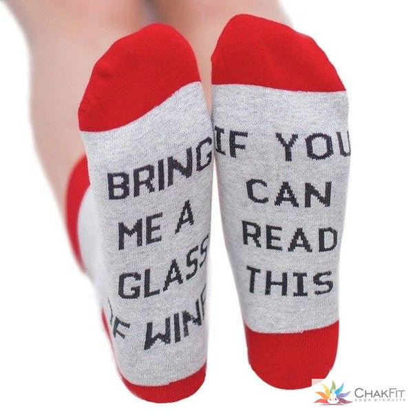 1 pairs IF YOU CAN READ THIS Socks Women Funny gray unisex for Valentine Bring Me A Glass Of Wine Cotton sock k5 - ChakFit Yoga Products