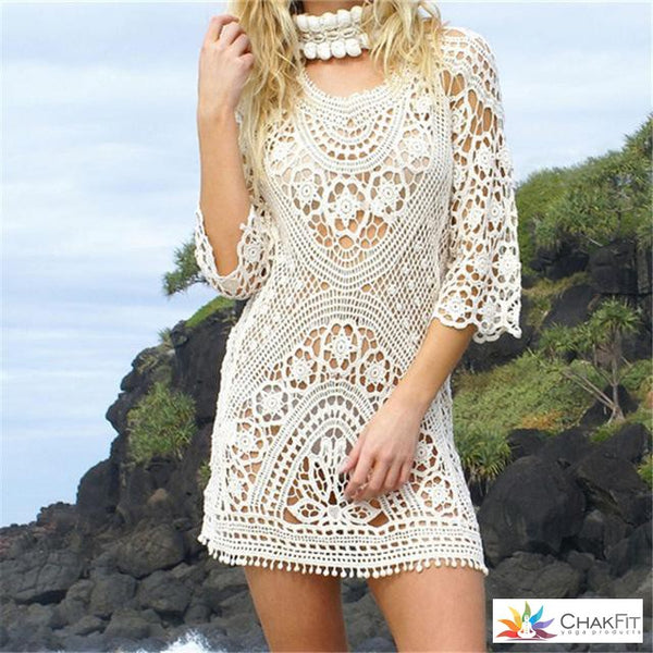 a3f80aeda0f White Lace Crochet Mini Swimsuit Coverup – ChakFit Yoga Products