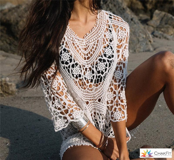 White Lace Crochet Mini Swimsuit Coverup - ChakFit Yoga Products