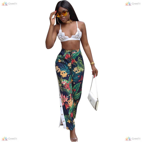Floral Print High-Waist Pants - ChakFit Yoga Products