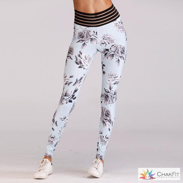 Women High Waist Fitness Spandex Leggings Floral Printed Fashion 2018 Female Push Up Pocket Pants Workout Leggings Plus Size - ChakFit Yoga Products