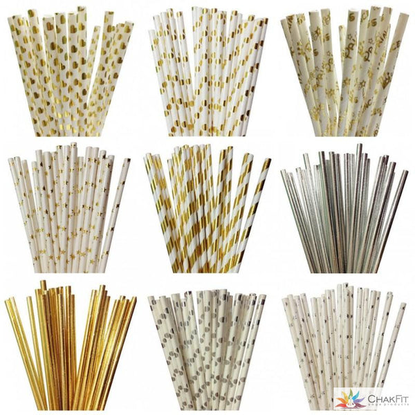 Chakfit 25pcs Foil Gold/Silver Drinking Paper Straws - ChakFit Yoga Products