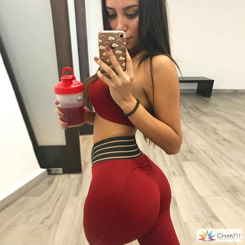 Chakfit Workout/Yoga Red Two-Piece High Waisted Pants and Crop Top.