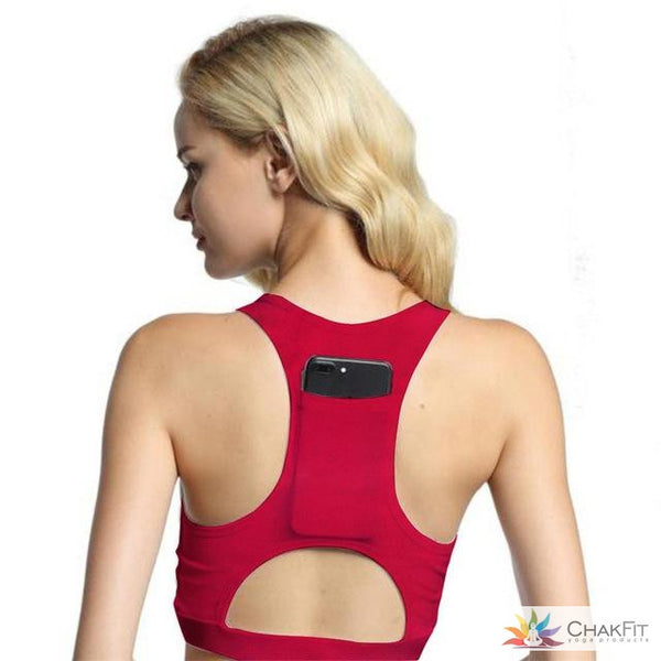 Padded Sports Bra With a Pocket - ChakFit Yoga Products