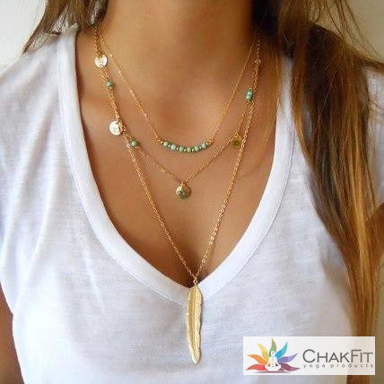 Chakfit New Simple Gold/Silver Color Tassel Bead & feather necklace - ChakFit Yoga Products