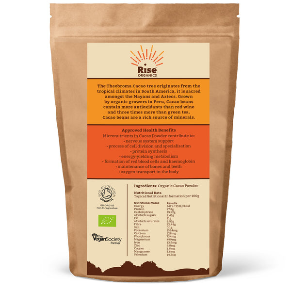 Rise organic cacao cocoa powder 500g soil association for Organic soil meaning