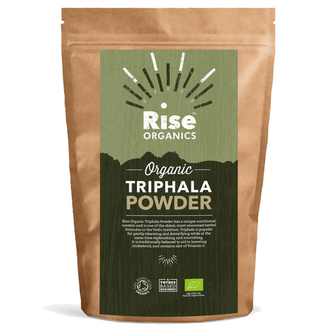 Organic Triphala Powder by Rise Organics / Soil Association Certified / Resealable Foil Pack for Freshness 500g