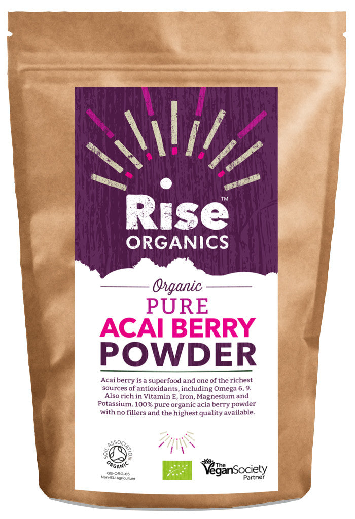 Rise Organic Acai Berry Powder 100g, Soil Association certified.