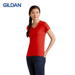 Gildan Cotton Ladies V-Neck T-Shirt - abrandz