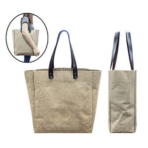 Eco Jute Tote Bag with PU Leather Handle