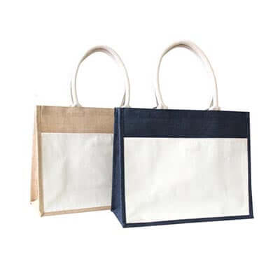 Eco Friendly A3 Jute Tote Bag with Canvas Pocket
