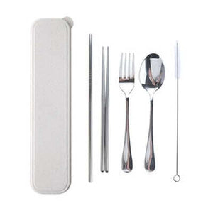 5 Pieces Stainless Steel Cutlery Set with Wheat Straw Case
