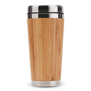 Bamboo Stainless Steel Coffee Mug with Leak-Proof Cover - abrandz