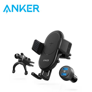 Anker PowerWave 7.5 Wireless Charging Car Mount With 2-Port QC 3.0 Charger - abrandz