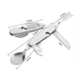 4 in 1 Multifunction Stainless Steel Foldable Travel Cutlery - abrandz