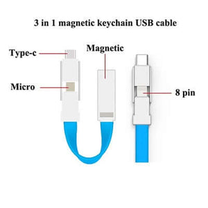 3 in 1 Magnetic Keychain USB Charging Cable - abrandz