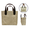Eco Friendly Jute Tote Bag with PU Leather Handle