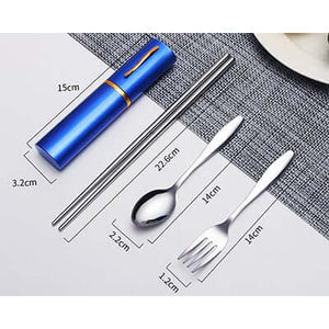 3pcs stainless steel cutlery set with folding chopsticks - abrandz
