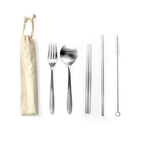 5 Pieces Stainless Steel Cutlery and Straw Set - abrandz