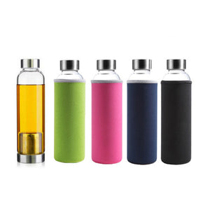 Glass Bottle with Neoprene Sleeve and Tea Brewer