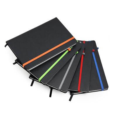 A5 Hard Cover Notebook with Coloured Elastic Strap