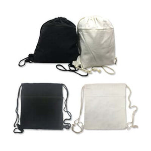 8oz Cotton Canvas Drawstring Bag with Zip Compartment - abrandz