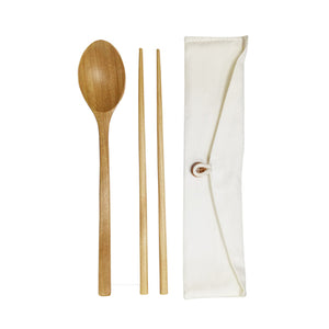 Eco-Friendly Wooden Cutlery in Cotton Pouch - abrandz