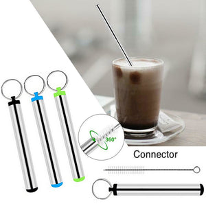 Portable Stainless Steel Eco Friendly Telescopic Traveling Drinking Straw - abrandz