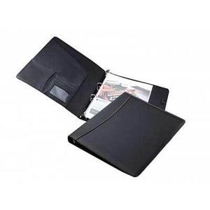 A4 Black Refillable Portfolio W/Ring Binder - abrandz