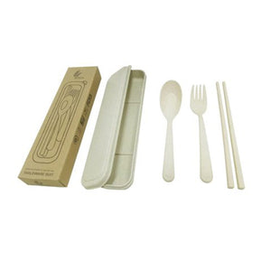 Straw Wheat Cutlery Set in box - abrandz
