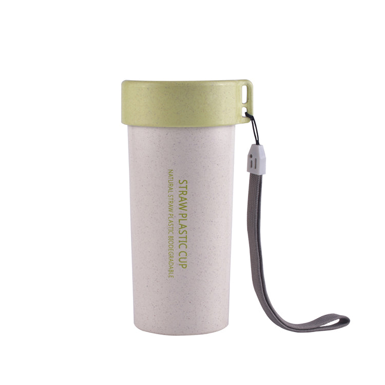 Wheat Straw Water Bottle with Lid and Strap