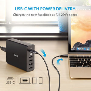 Anker PowerPort+ 5 Ports USB-C 60W With PowerIQ™ Charging Station - abrandz