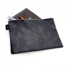 A4 Black Leather Document Pouch - abrandz