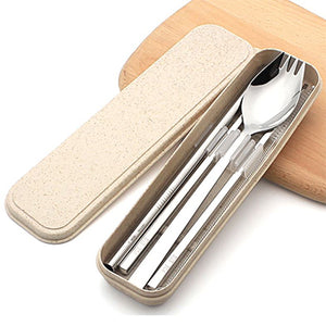 Eco Friendly Stainless Steel Travel Cutlery Spork and Straw Set