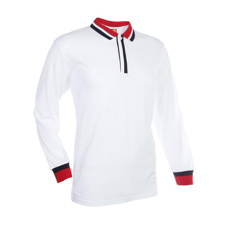 Basic Jersey Contrasting Long Sleeve Polo T-shirt