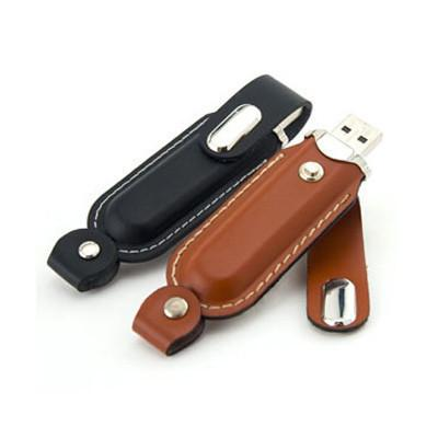 Clip-on Leather USB Drive